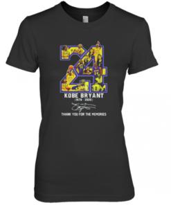 24 Kobe Bryant 1978 2020 Basketball Thank You For The Memories Signature Premium Women's Quality T-Shirt