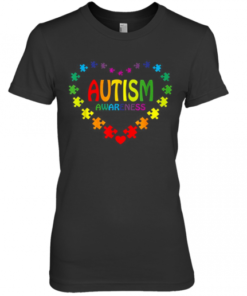 Love Autism Awareness Heart Premium Women's Quality T-Shirt