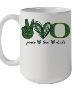 Peace Love Oregon Ducks Logo Quality Mug 15oz