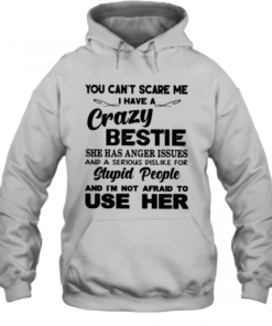 You Can't Scare Me I Have A Crazy Bestie She Has Anger Issues And A Serious Dislike For Stupid People Quality Quality Hoodie