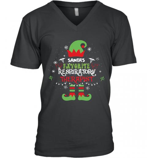 ELF Santa's Favorite Respiratory Therapist V-Neck Quality T-Shirt