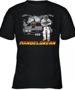 The Mandalorian And Baby Yoda Mandelorean DMC Delorean Youth Quality T-Shirt